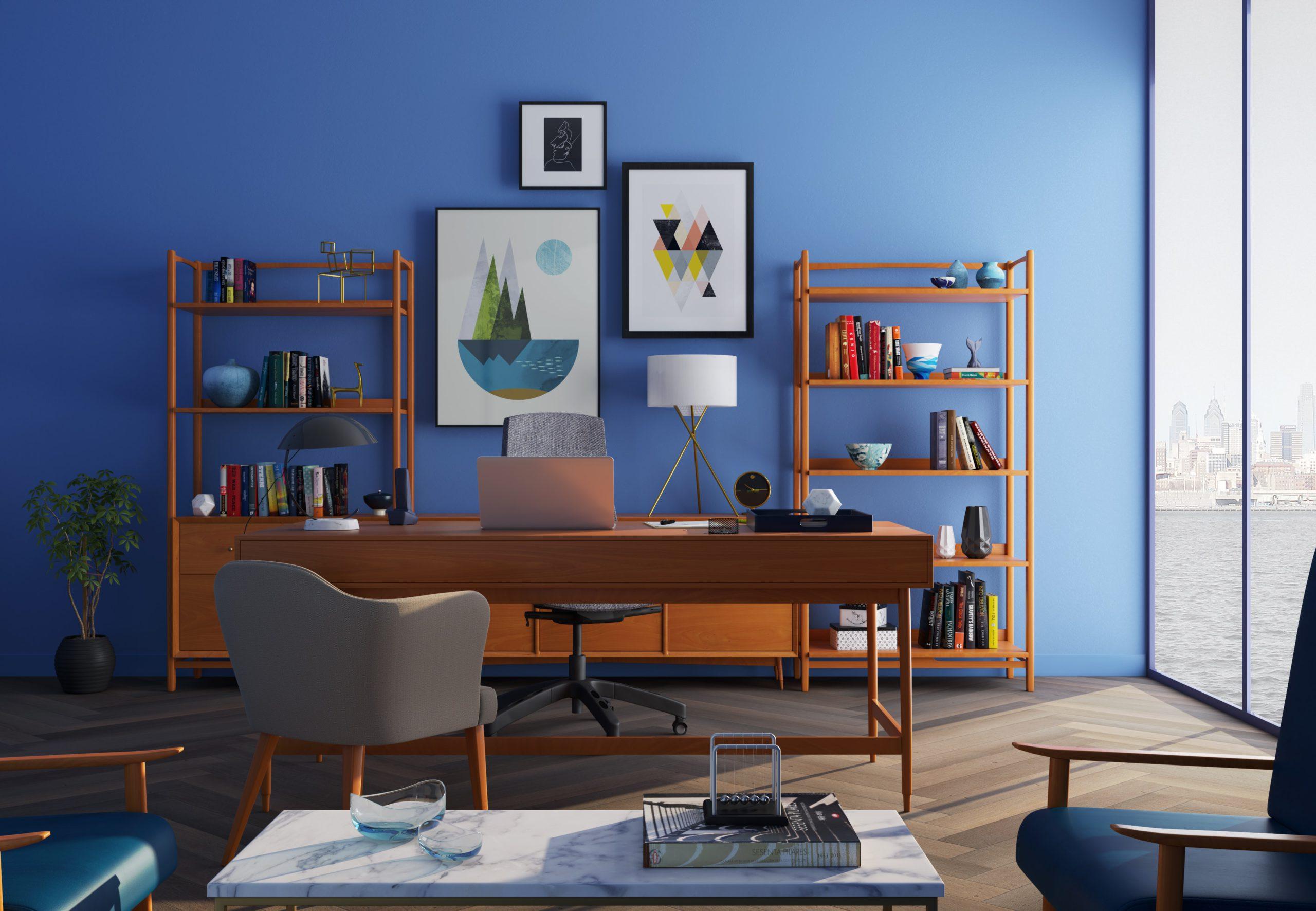Egy ízlésesen berendezett otthoni iroda, ahonnan tökéletesen lehet home office-ban vagy távmunkában dolgozni.